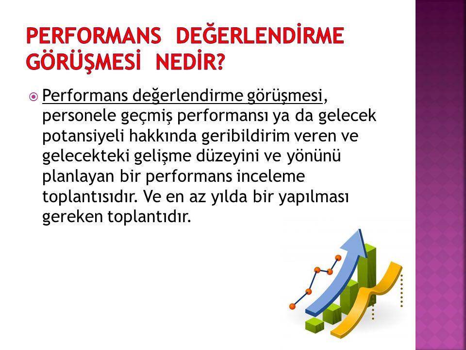  Performans değerlendirme görüşmesi, personele geçmiş performansı ya da gelecek potansiyeli hakkında geribildirim veren ve gelecekteki gelişme düzeyi