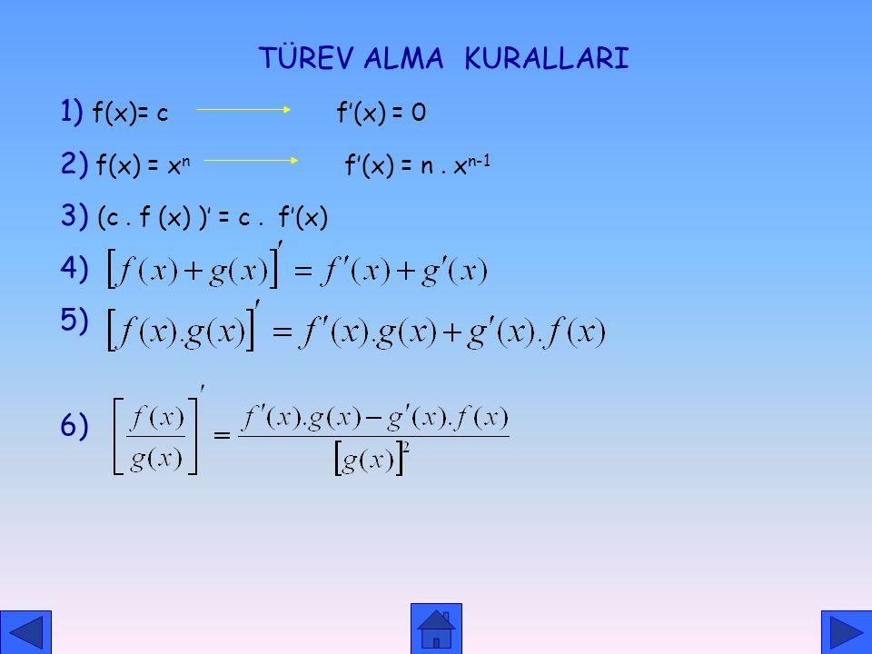 BİR ARALIKTA TÜREVLENEBİLME TANIM: a,b olmak üzere fonksiyonunun (a,b) aralığının her noktasında türev varsa f fonksiyonu (a,b) aralığında türevlidir.