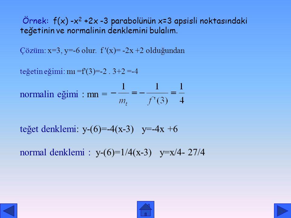 A noktasındaki normal denklemi ise şöyle olur:. (x-a)