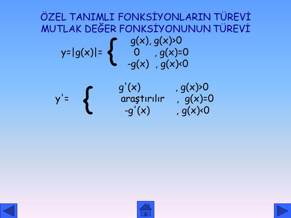 TRİGONOMETRİK FONKSİYONLARIN TÜREVİ f(x) =sinx, f'(u)=cosu. (u') f(x) =cosx, f'(u) = -sinu. (u') f(x) =tan u, f'(u)=u' / cos 2 u = u'. Sec 2 u =u '. (