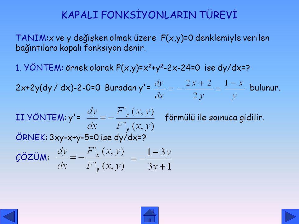 İŞARET FONKSİYONUNUN TÜREVİ f: A R, y=sgn (f(x) )fonksiyonunda içini 0 yapan değerler türevsizdir. (soldan (+) sağdan (-) çıkar.) diğer durumlarda tam