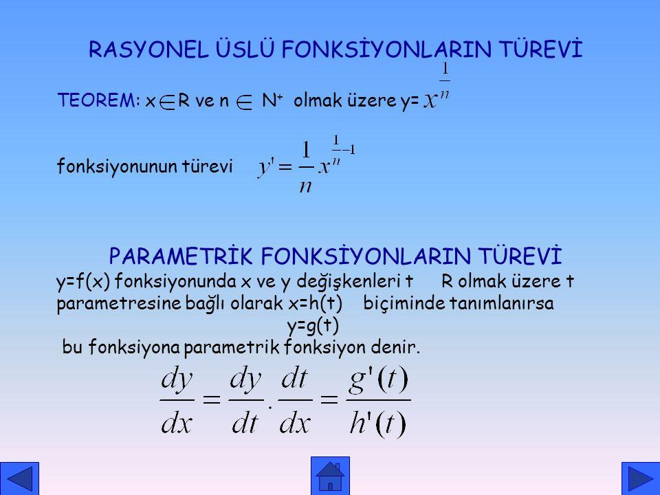 KAPALI FONKSİYONLARIN TÜREVİ TANIM:x ve y değişken olmak üzere F(x,y)=0 denklemiyle verilen bağıntılara kapalı fonksiyon denir. 1. YÖNTEM: örnek olara