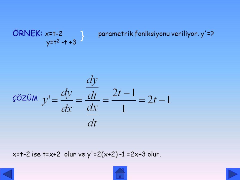 RASYONEL ÜSLÜ FONKSİYONLARIN TÜREVİ TEOREM: x R ve n N + olmak üzere y= fonksiyonunun türevi PARAMETRİK FONKSİYONLARIN TÜREVİ y=f(x) fonksiyonunda x v