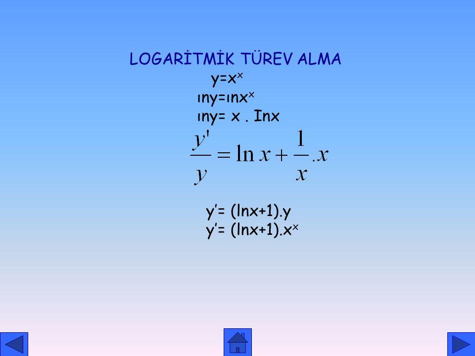 ÜSTEL FONKSİYONUN TÜREVİ 1.f(x)=a u, f'(x)=a u. u'. lna 2.f(x)=e u, f'(x)=e u. u'