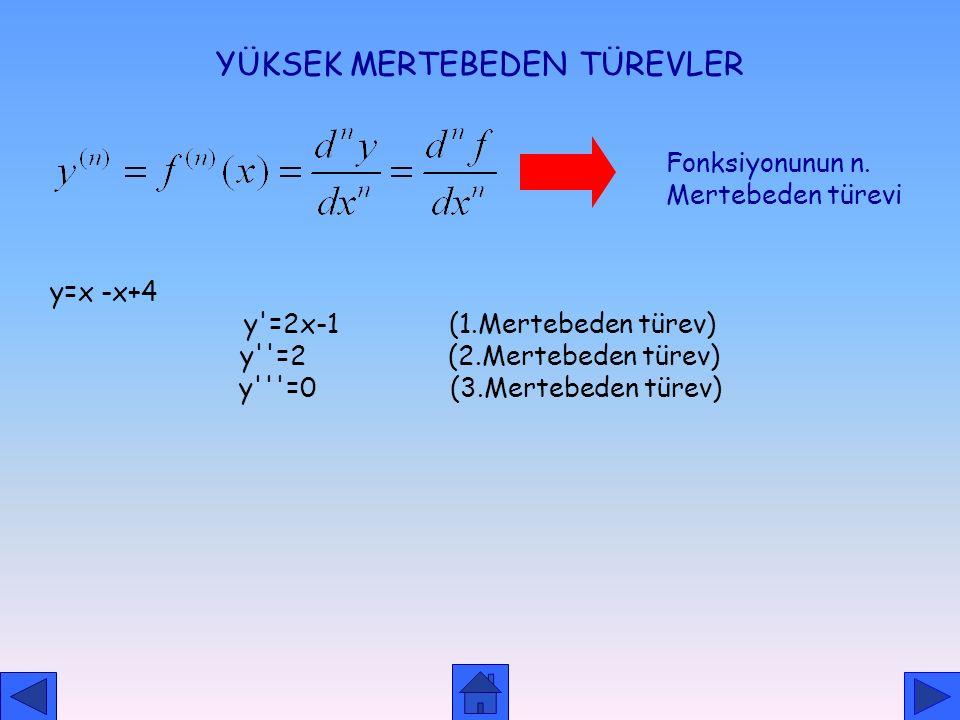 LOGARİTMİK TÜREV ALMA y=x x ıny=ınx x ıny= x. Inx y'= (lnx+1).y y'= (lnx+1).x x