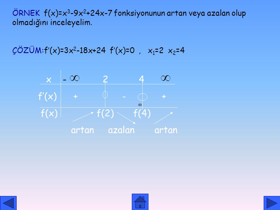 ARTAN VE AZALAN FONKSİYONLAR aaabbb azalan artan sabit f(a,b) fonksiyonu sürekli ve türevli ise f'(x)>0 f(x), (a,b) aralığında artandır. f'(x)<0 f(x),