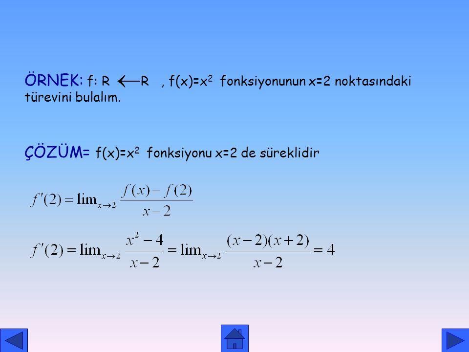 TÜREV KAVRAMI TANIM: f : A R, y=f(x) fonksiyonu ve a  A da sürekli olmak üzere limiti bir reel sayı ise bu değere f fonksiyonunun x=a noktasındaki tü