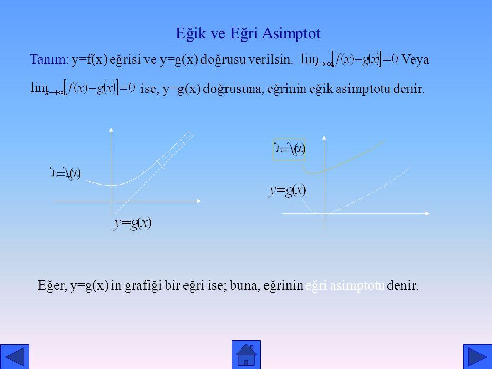 Örnek: fonksiyonunun yatay asimptotunun y=3 doğrusu olduğunu gösterelim. Çözüm: veya olduğundan, y=3 doğrusu yatay asimptottur.