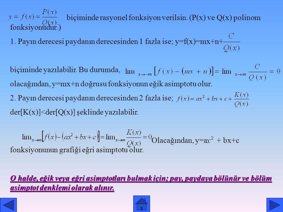 Eğik ve Eğri Asimptot Tanım: y=f(x) eğrisi ve y=g(x) doğrusu verilsin. Veya ise, y=g(x) doğrusuna, eğrinin eğik asimptotu denir. Eğer, y=g(x) in grafi