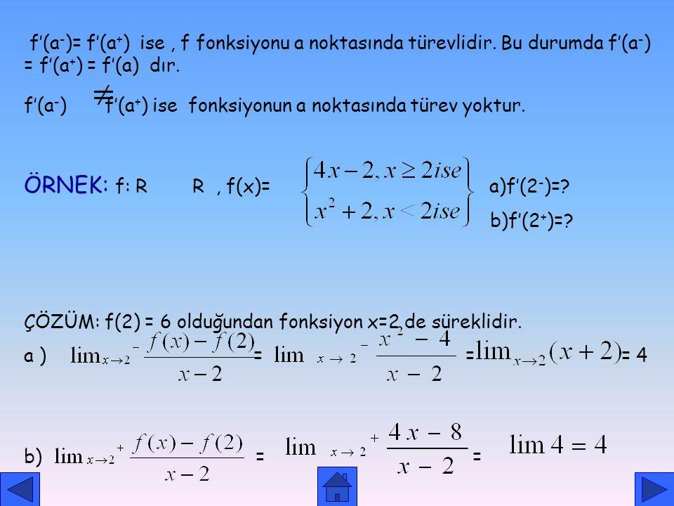 SOLDAN SAĞDAN TÜREV TANIM: 1. Limitinin bir reel sayıdeğeri varsa bu değere f fonksiyonunun a noktasındaki soldan türevi denir ve f'(a - ) şeklinde gö