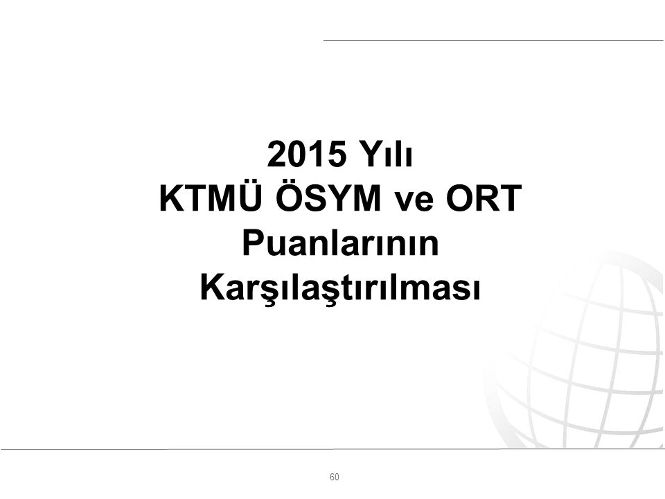 60 2015 Yılı KTMÜ ÖSYM ve ORT Puanlarının Karşılaştırılması