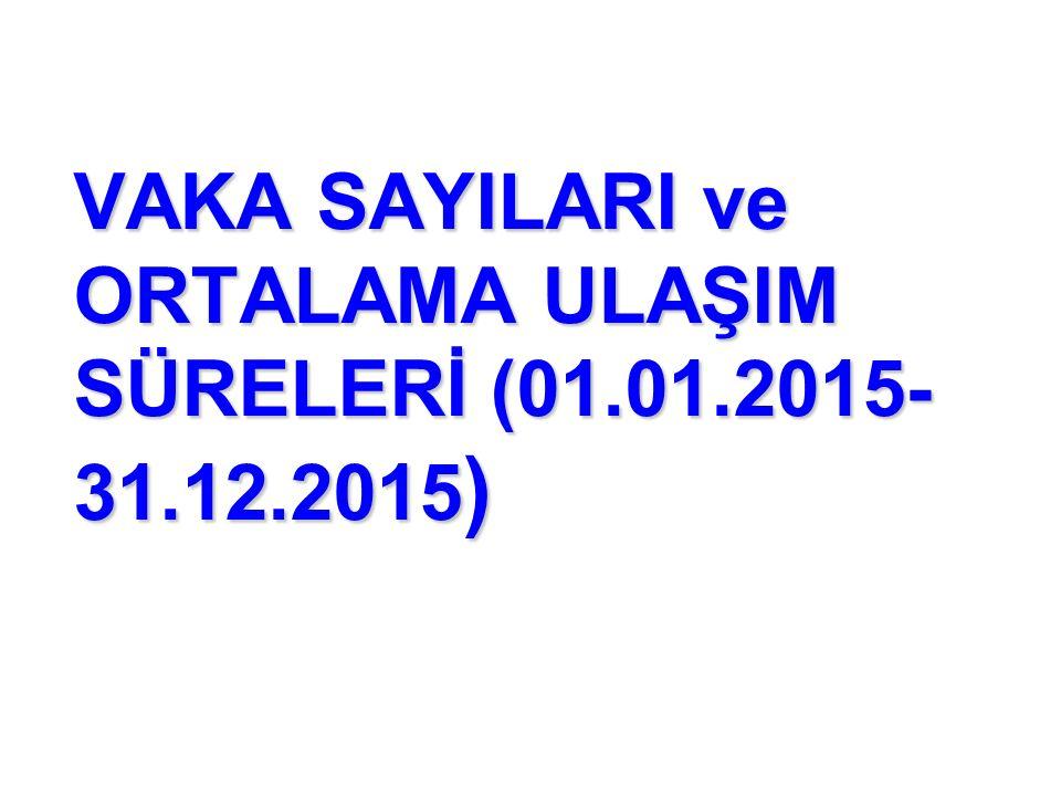 VAKA SAYILARI ve ORTALAMA ULAŞIM SÜRELERİ (01.01.2015- 31.12.2015 )