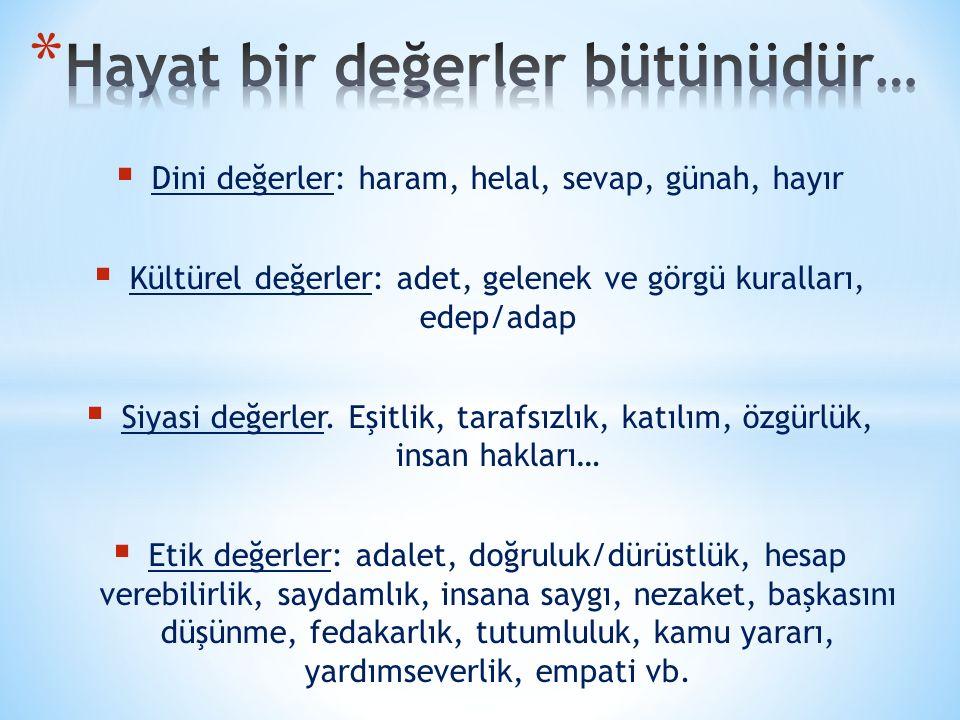  Dini değerler: haram, helal, sevap, günah, hayır  Kültürel değerler: adet, gelenek ve görgü kuralları, edep/adap  Siyasi değerler. Eşitlik, tarafs