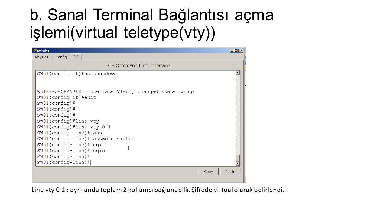 b. Sanal Terminal Bağlantısı açma işlemi(virtual teletype(vty)) Line vty 0 1 : aynı anda toplam 2 kullanıcı bağlanabilir. Şifrede virtual olarak belir