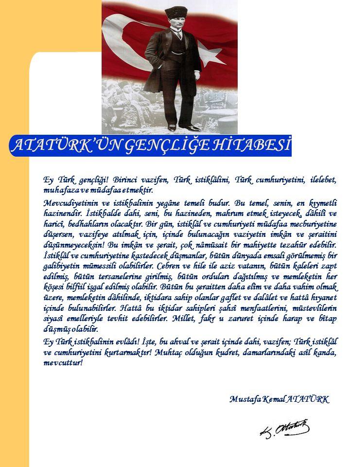 ATATÜRK'ÜN GENÇLİĞE HİTABESİ Ey Türk gençliği.