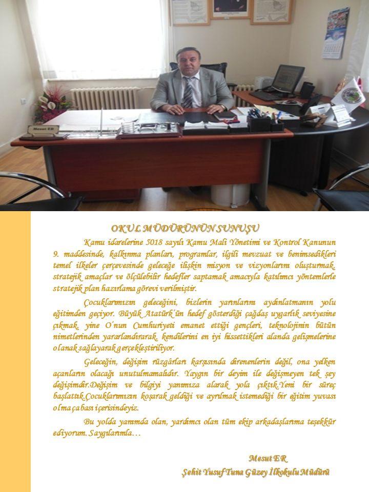 OKUL MÜDÜRÜNÜN SUNUŞU Kamu idarelerine 5018 sayılı Kamu Mali Yönetimi ve Kontrol Kanunun 9.