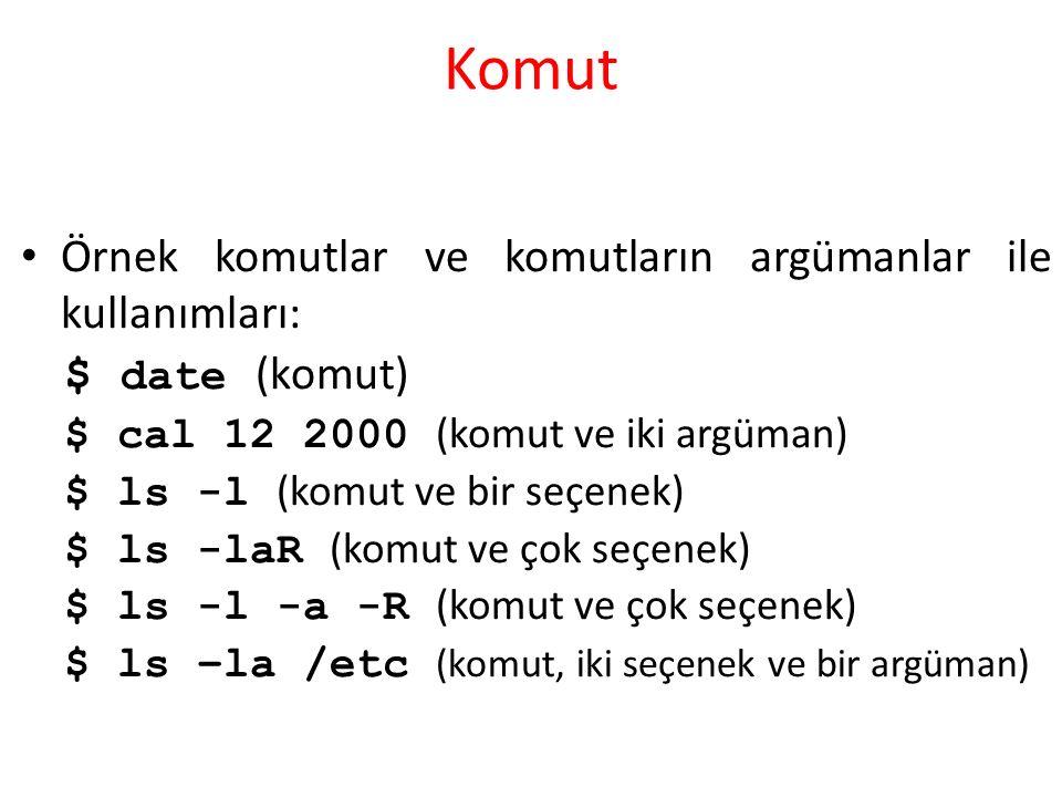 Komut Örnek komutlar ve komutların argümanlar ile kullanımları: $ date (komut) $ cal 12 2000 (komut ve iki argüman) $ ls -l (komut ve bir seçenek) $ ls -laR (komut ve çok seçenek) $ ls -l -a -R (komut ve çok seçenek) $ ls –la /etc (komut, iki seçenek ve bir argüman)
