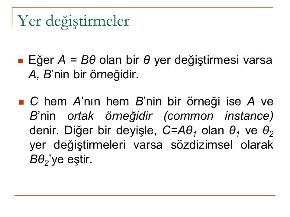 Yer değiştirmeler Eğer A = Bθ olan bir θ yer değiştirmesi varsa A, B'nin bir örneğidir.