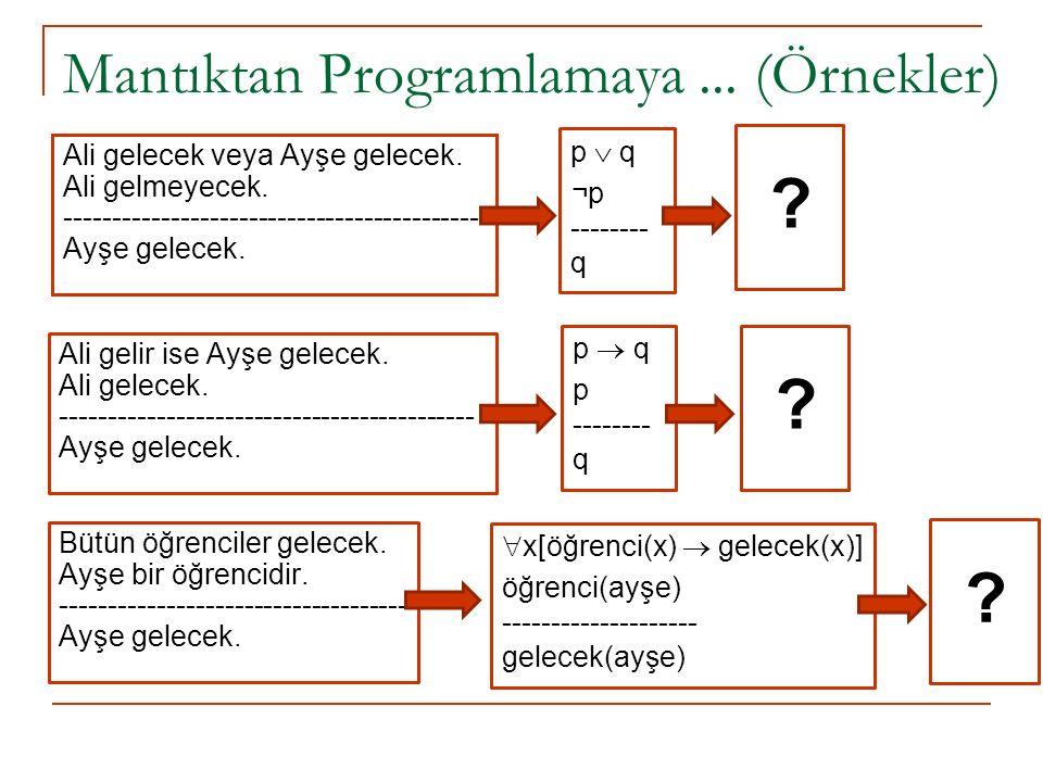 Mantıktan Programlamaya... (Örnekler) Ali gelecek veya Ayşe gelecek.