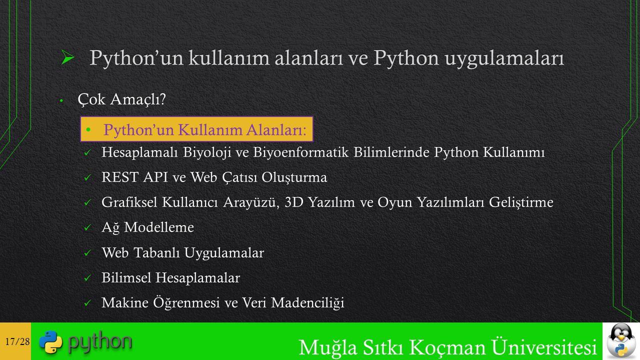 17/28 Python'un Kullanım Alanları: