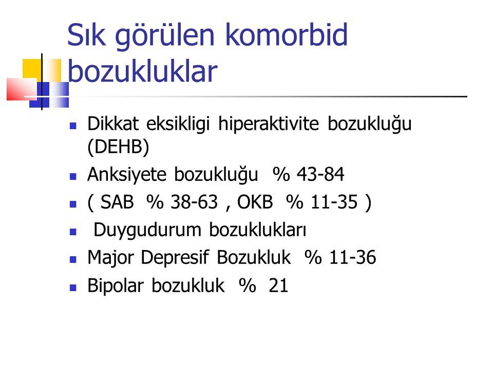 Sık görülen komorbid bozukluklar Dikkat eksikligi hiperaktivite bozukluğu (DEHB) Anksiyete bozukluğu % 43-84 ( SAB % 38-63, OKB % 11-35 ) Duygudurum b