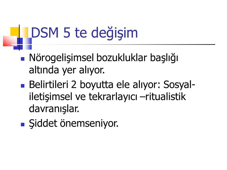 DSM 5 te değişim Nörogelişimsel bozukluklar başlığı altında yer alıyor. Belirtileri 2 boyutta ele alıyor: Sosyal- iletişimsel ve tekrarlayıcı –rituali