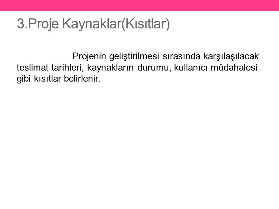 4.Varsayımlar Proje başlangıcında belirsiz olan ve ileride sağlanacağı varsayılan durumlar belirtilir.