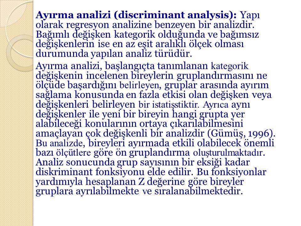 Ayırma analizi (discriminant analysis): Yapı olarak regresyon analizine benzeyen bir analizdir. Bağımlı değişken kategorik olduğunda ve bağımsız değiş