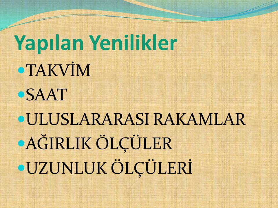 TAKVİM Osmanlı Devleti döneminde Rumi Takvim kullanılıyordu.26 aralık 1925 tarihinden itibaren Türkiye Cumhuriyetin' de resmi Devlet Takvimi olarak Miladi Takvim kullanılmaya başlandı.