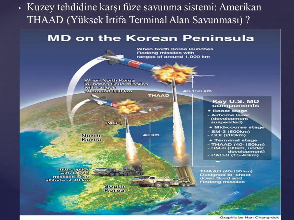 Kuzey tehdidine karşı füze savunma sistemi: Kuzey tehdidine karşı füze savunma sistemi: Amerikan THAAD (Yüksek İrtifa Terminal Alan Savunması) ?