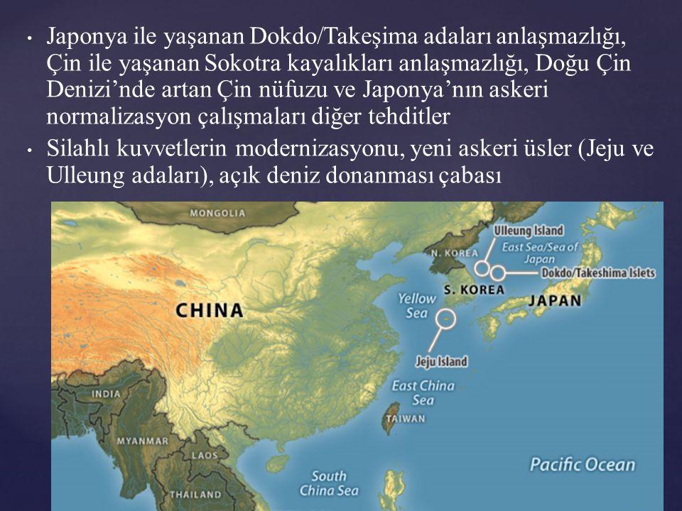 Japonya ile yaşanan Dokdo/Takeşima adaları anlaşmazlığı, Çin ile yaşanan Sokotra kayalıkları anlaşmazlığı, Doğu Çin Denizi'nde artan Çin nüfuzu ve Japonya'nın askeri normalizasyon çalışmaları diğer tehditler Silahlı kuvvetlerin modernizasyonu, yeni askeri üsler (Jeju ve Ulleung adaları), açık deniz donanması çabası