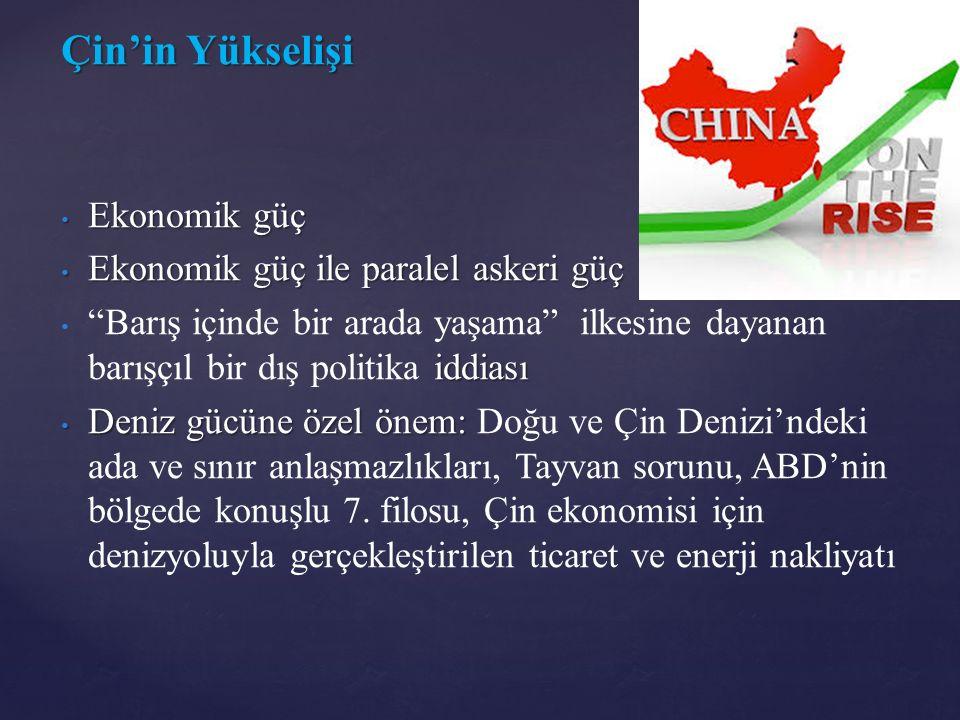 Çin'in Yükselişi Ekonomik güç Ekonomik güç Ekonomik güç ile paralel askeri güç Ekonomik güç ile paralel askeri güç iddiası Barış içinde bir arada yaşama ilkesine dayanan barışçıl bir dış politika iddiası Deniz gücüne özel önem: Deniz gücüne özel önem: Doğu ve Çin Denizi'ndeki ada ve sınır anlaşmazlıkları, Tayvan sorunu, ABD'nin bölgede konuşlu 7.