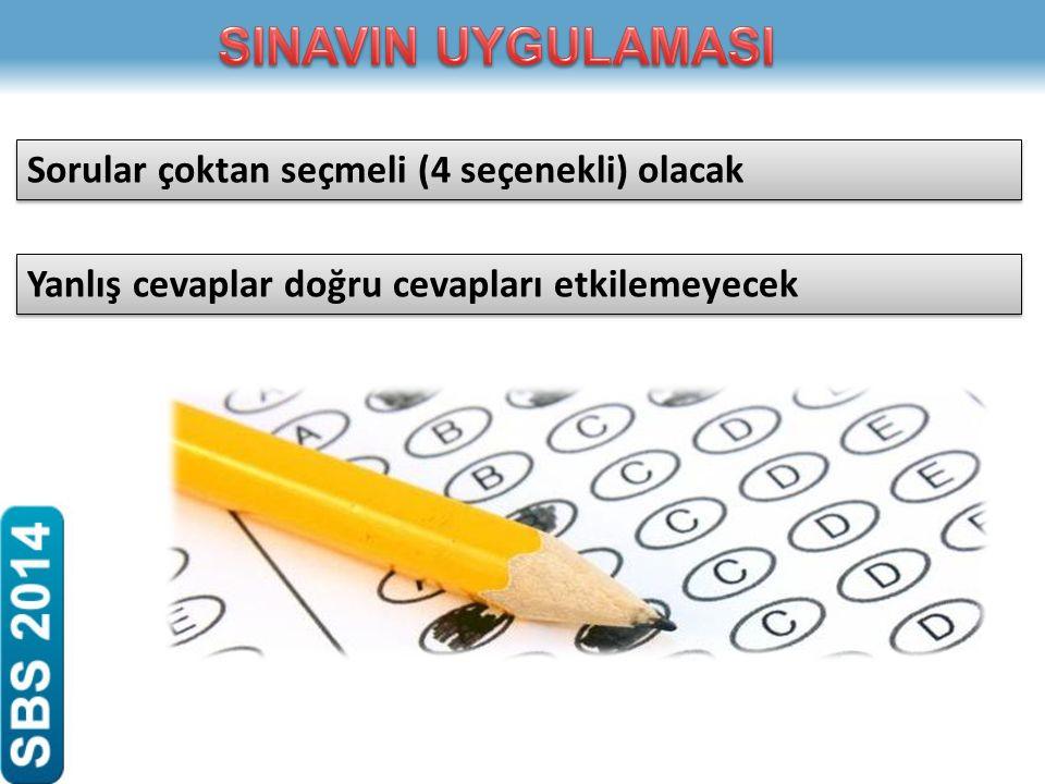 Sorular çoktan seçmeli (4 seçenekli) olacak Yanlış cevaplar doğru cevapları etkilemeyecek
