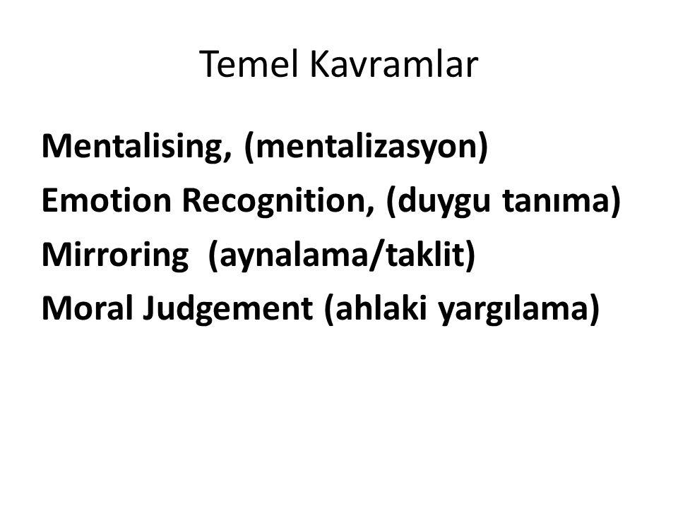Temel Kavramlar Mentalising, (mentalizasyon) Emotion Recognition, (duygu tanıma) Mirroring (aynalama/taklit) Moral Judgement (ahlaki yargılama)