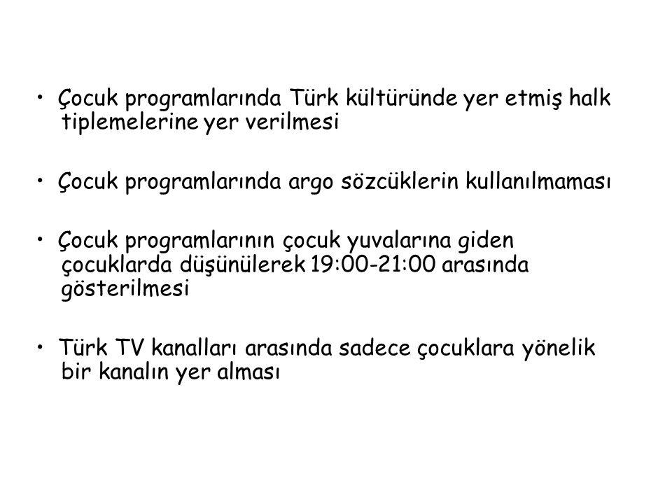 Çocuk programlarında Türk kültüründe yer etmiş halk tiplemelerine yer verilmesi Çocuk programlarında argo sözcüklerin kullanılmaması Çocuk programları