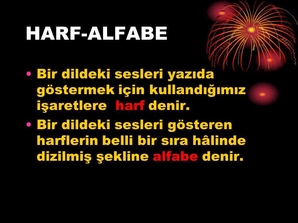 HARF-ALFABE Bir dildeki sesleri yazıda göstermek için kullandığımız işaretlere harf denir. Bir dildeki sesleri gösteren harflerin belli bir sıra hâlin