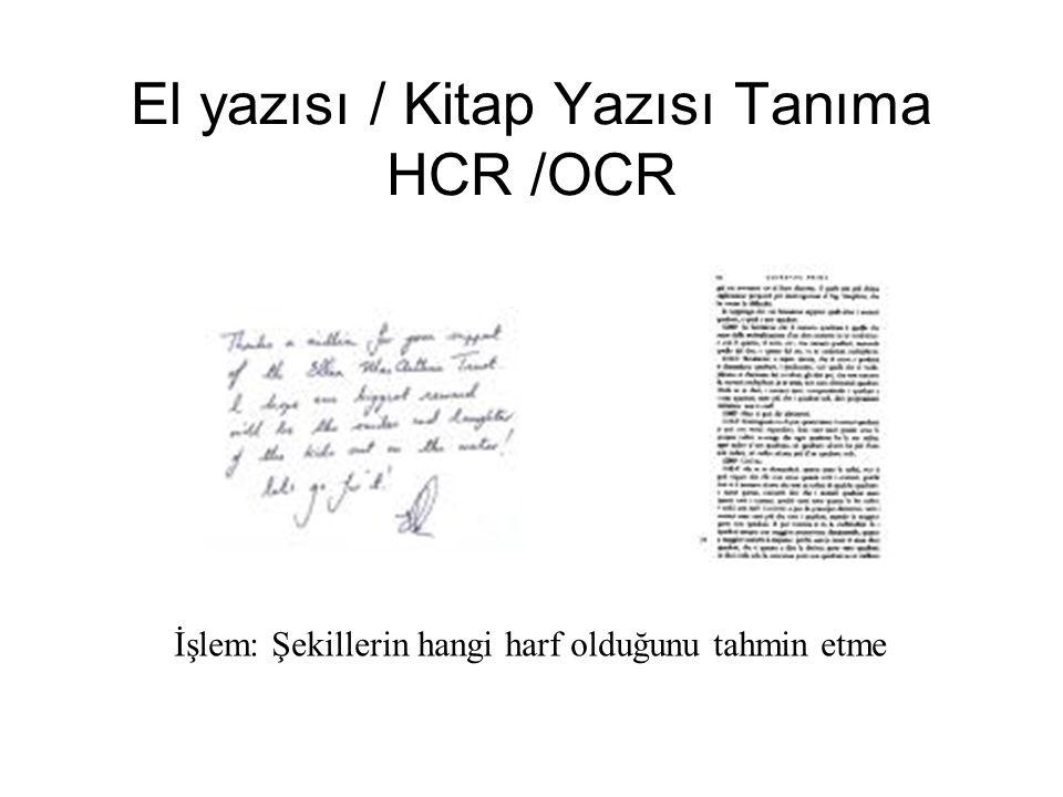 El yazısı / Kitap Yazısı Tanıma HCR /OCR İşlem: Şekillerin hangi harf olduğunu tahmin etme
