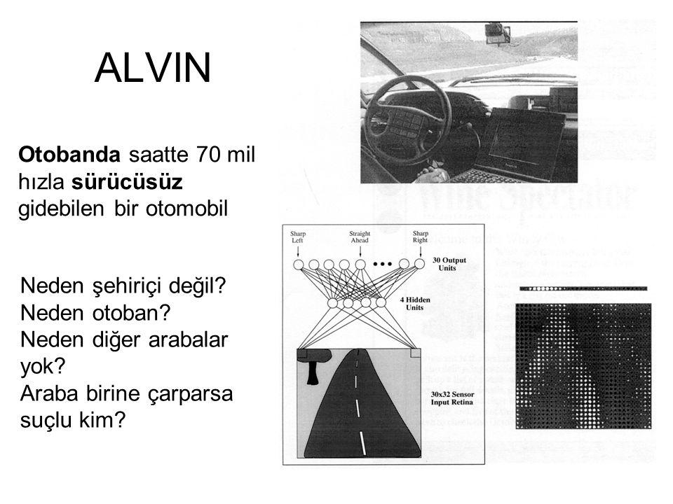 ALVIN Otobanda saatte 70 mil hızla sürücüsüz gidebilen bir otomobil Neden şehiriçi değil? Neden otoban? Neden diğer arabalar yok? Araba birine çarpars