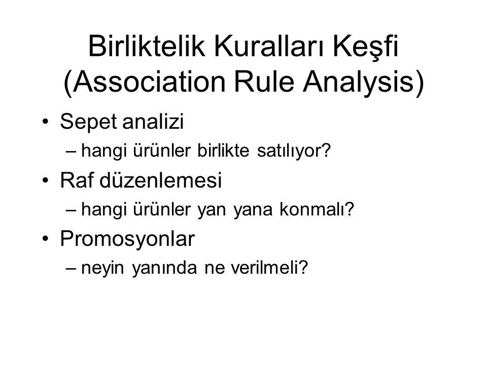 Birliktelik Kuralları Keşfi (Association Rule Analysis) Sepet analizi –hangi ürünler birlikte satılıyor? Raf düzenlemesi –hangi ürünler yan yana konma