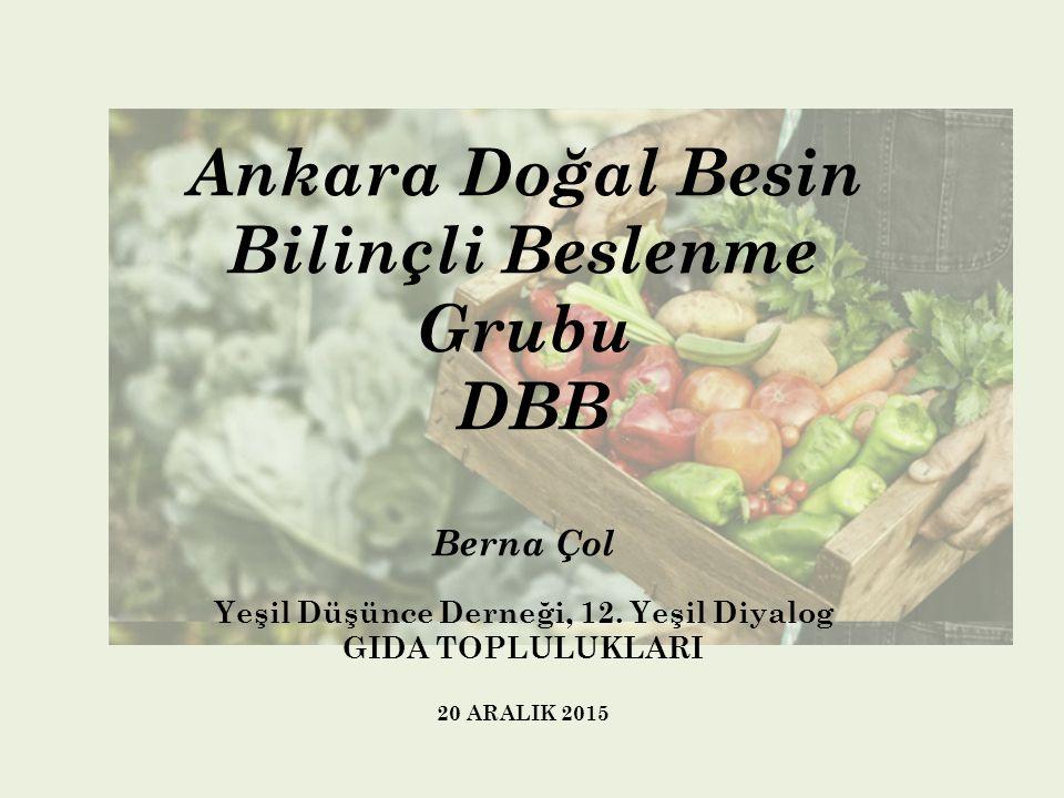 Ankara Doğal Besin Bilinçli Beslenme Grubu DBB Berna Çol Yeşil Düşünce Derneği, 12. Yeşil Diyalog GIDA TOPLULUKLARI 20 ARALIK 2015
