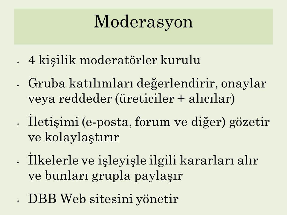 Moderasyon 4 kişilik moderatörler kurulu Gruba katılımları değerlendirir, onaylar veya reddeder (üreticiler + alıcılar) İletişimi (e-posta, forum ve d
