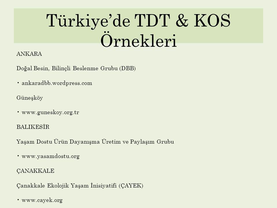 Türkiye'de TDT & KOS Örnekleri ANKARA Doğal Besin, Bilinçli Beslenme Grubu (DBB) ankaradbb.wordpress.com Güneşköy www.guneskoy.org.tr BALIKESİR Yaşam