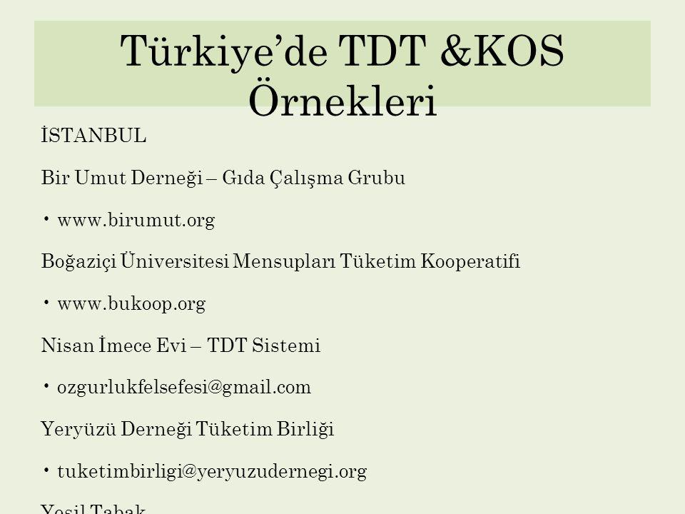 Türkiye'de TDT &KOS Örnekleri İSTANBUL Bir Umut Derneği – Gıda Çalışma Grubu www.birumut.org Boğaziçi Üniversitesi Mensupları Tüketim Kooperatifi www.
