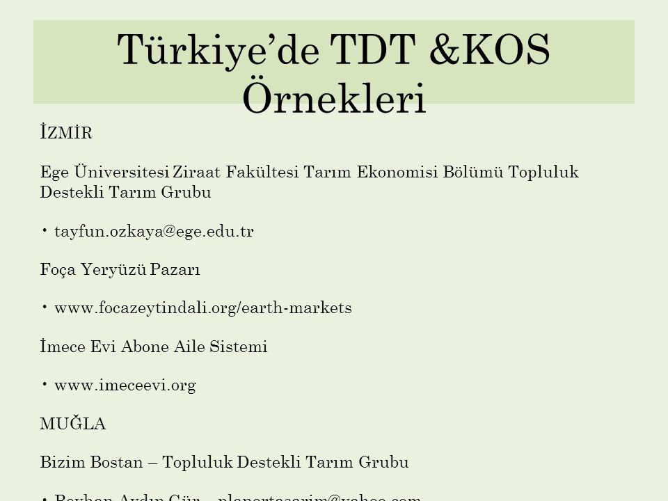 Türkiye'de TDT &KOS Örnekleri İ ZMİR Ege Üniversitesi Ziraat Fakültesi Tarım Ekonomisi Bölümü Topluluk Destekli Tarım Grubu tayfun.ozkaya@ege.edu.tr F