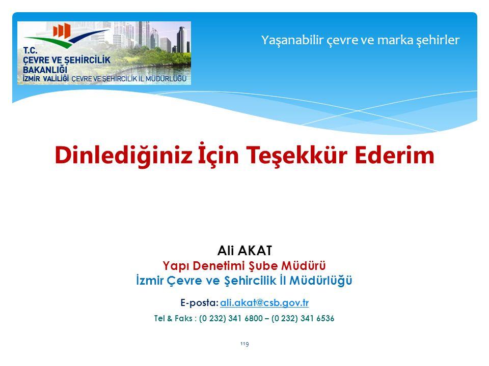 Yaşanabilir çevre ve marka şehirler 119 Dinlediğiniz İçin Teşekkür Ederim Ali AKAT Yapı Denetimi Şube Müdürü İzmir Çevre ve Şehircilik İl Müdürlüğü E-