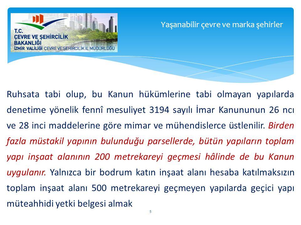 Ruhsata tabi olup, bu Kanun hükümlerine tabi olmayan yapılarda denetime yönelik fennî mesuliyet 3194 sayılı İmar Kanununun 26 ncı ve 28 inci maddeleri