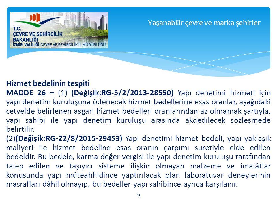 Hizmet bedelinin tespiti MADDE 26 – (1) (Değişik:RG-5/2/2013-28550) Yapı denetimi hizmeti için yapı denetim kuruluşuna ödenecek hizmet bedellerine esa