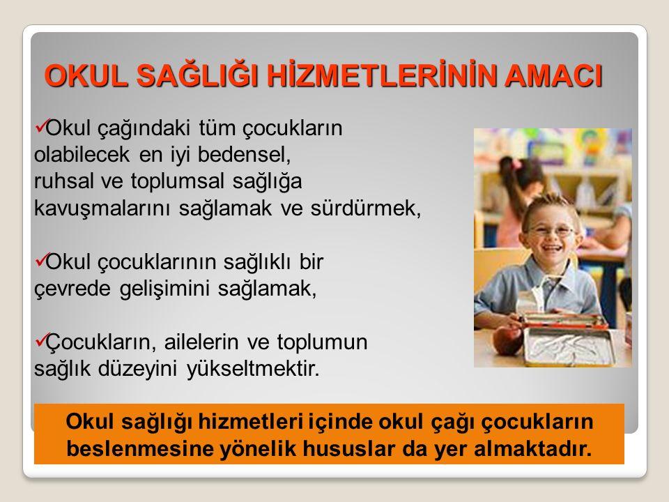 OKUL SAĞLIĞI HİZMETLERİNİN AMACI Okul çağındaki tüm çocukların olabilecek en iyi bedensel, ruhsal ve toplumsal sağlığa kavuşmalarını sağlamak ve sürdürmek, Okul çocuklarının sağlıklı bir çevrede gelişimini sağlamak, Çocukların, ailelerin ve toplumun sağlık düzeyini yükseltmektir.