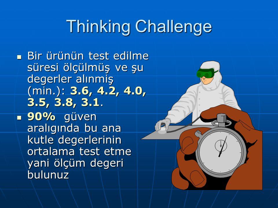 Thinking Challenge Bir ürünün test edilme süresi ölçülmüş ve şu degerler alınmiş (min.): 3.6, 4.2, 4.0, 3.5, 3.8, 3.1.