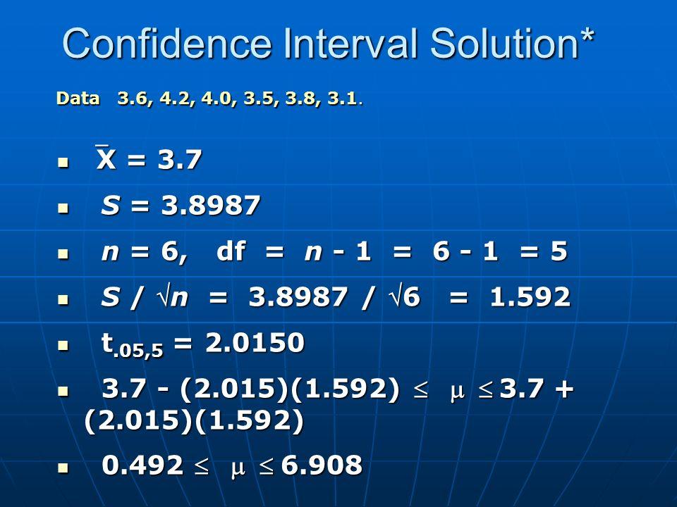 Confidence Interval Solution* X = 3.7 X = 3.7 S = 3.8987 S = 3.8987 n = 6, df = n - 1 = 6 - 1 = 5 n = 6, df = n - 1 = 6 - 1 = 5 S / n = 3.8987 / 6 = 1.592 S / n = 3.8987 / 6 = 1.592 t.05,5 = 2.0150 t.05,5 = 2.0150 3.7 - (2.015)(1.592) 3.7 + (2.015)(1.592) 3.7 - (2.015)(1.592) 3.7 + (2.015)(1.592) 0.492  6.908 0.492  6.908 Data 3.6, 4.2, 4.0, 3.5, 3.8, 3.1.